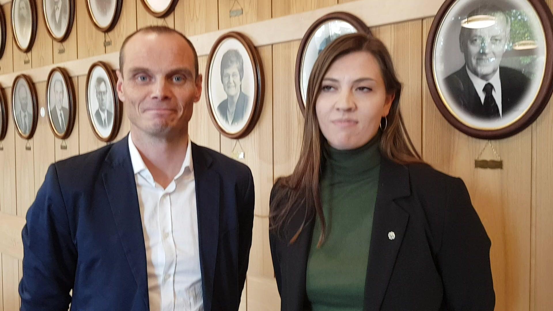 Ordfører Toralf Heimdal (Sp) og varaordfører Rikke Håkstad (Sp)